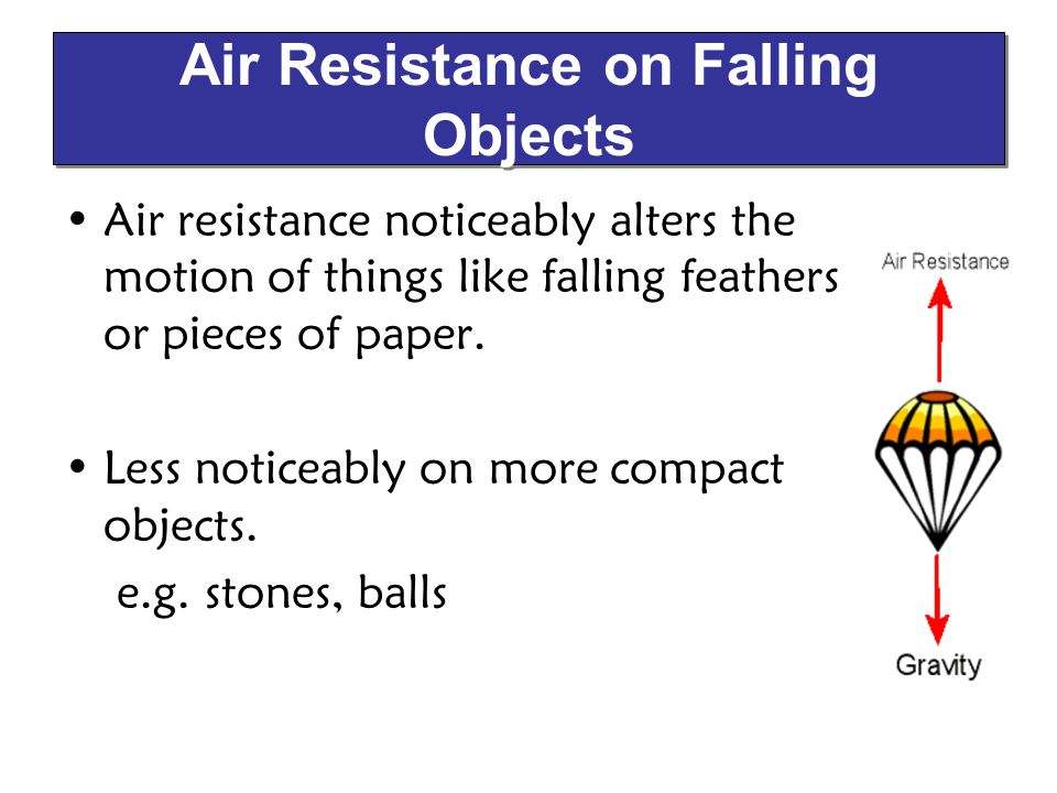 Air resistance noticeably alters the motion of things like falling feathers or pieces of paper. Less noticeably on more compact objects. e.g. stones,