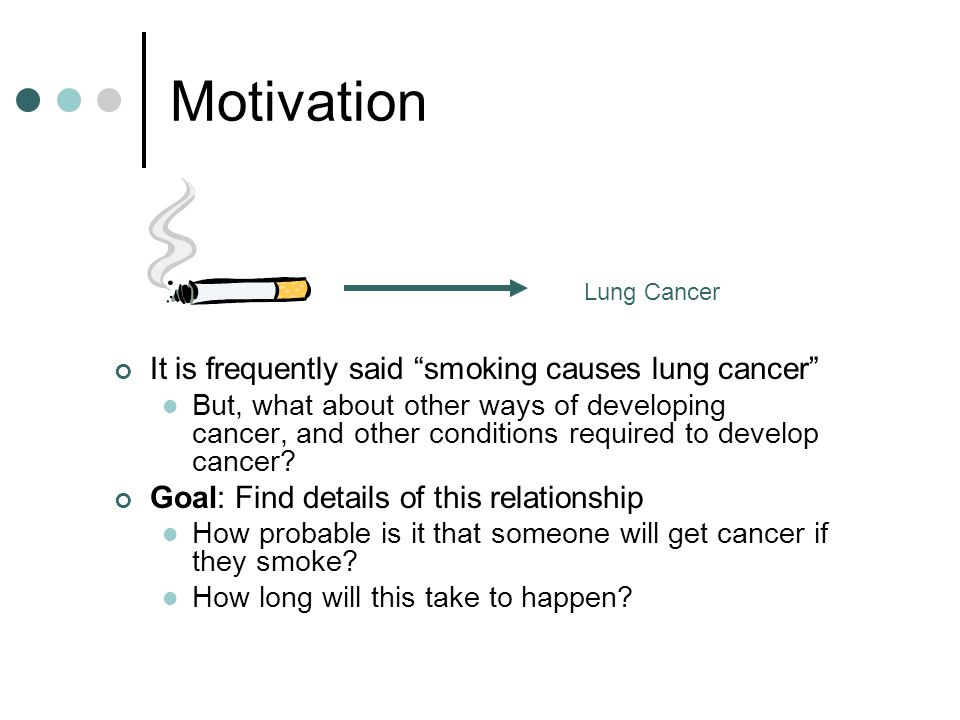 Motivation It is frequently said smoking causes lung cancer But, what about other ways of developing cancer, and other conditions required to develop cancer.