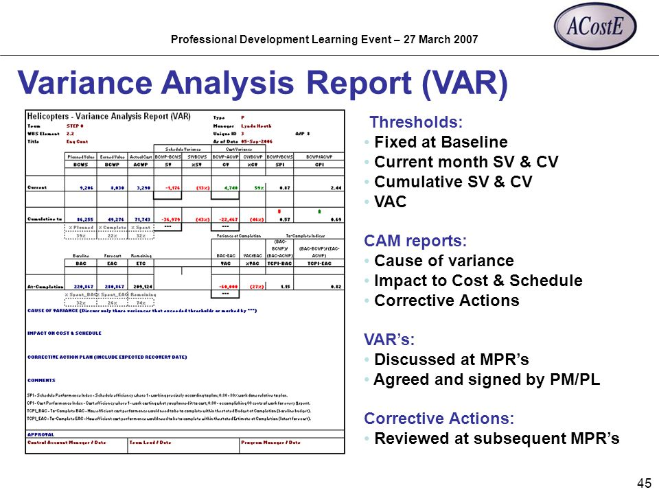 Professional Development Learning Event – 27 March 2007 45 Variance Analysis Report (VAR) Thresholds: Fixed at Baseline Current month SV & CV Cumulati