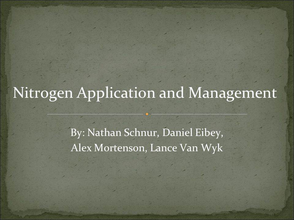 Nitrogen Application and Management By: Nathan Schnur, Daniel Eibey, Alex Mortenson, Lance Van Wyk