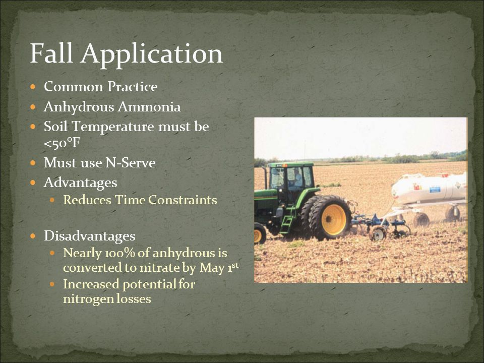 Fall Application Common Practice Anhydrous Ammonia Soil Temperature must be <50°F Must use N-Serve Advantages Reduces Time Constraints Disadvantages Nearly 100% of anhydrous is converted to nitrate by May 1 st Increased potential for nitrogen losses