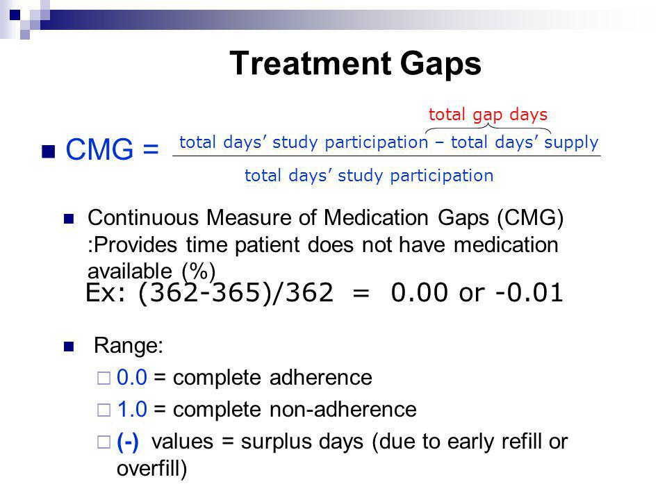 Treatment Gaps total days study participation – total days supply total days study participation CMG = Ex: (362-365)/362 = 0.00 or -0.01 total gap day