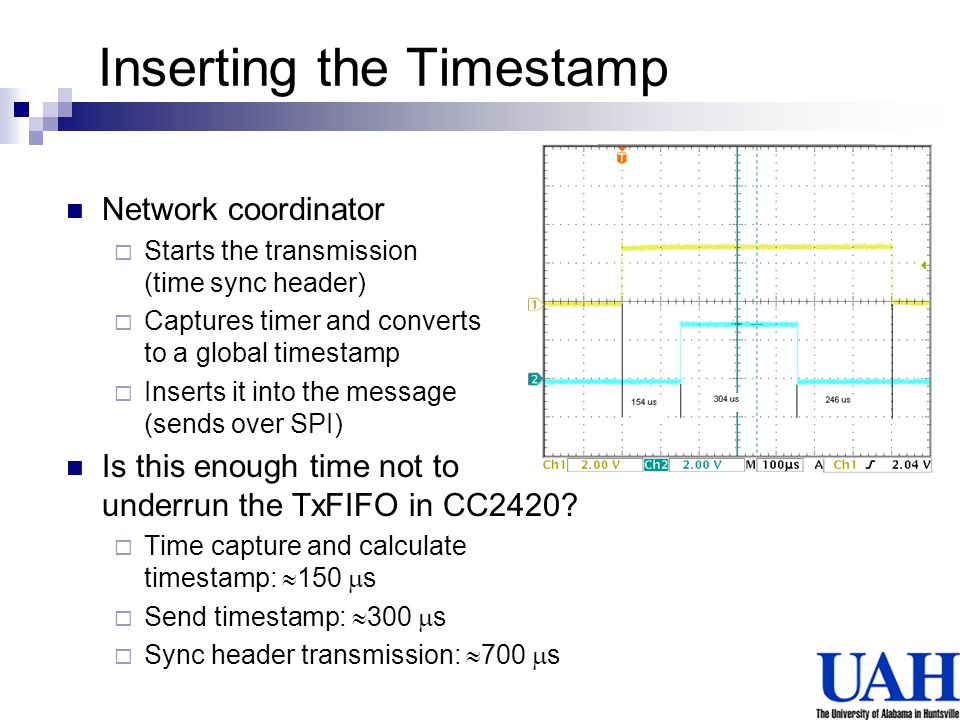 Inserting the Timestamp Network coordinator Starts the transmission (time sync header) Captures timer and converts to a global timestamp Inserts it in
