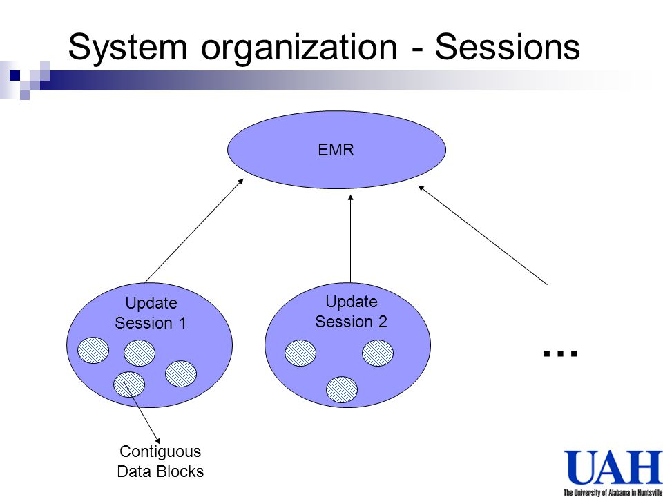EMR … Update Session 1 Update Session 2 Contiguous Data Blocks System organization - Sessions