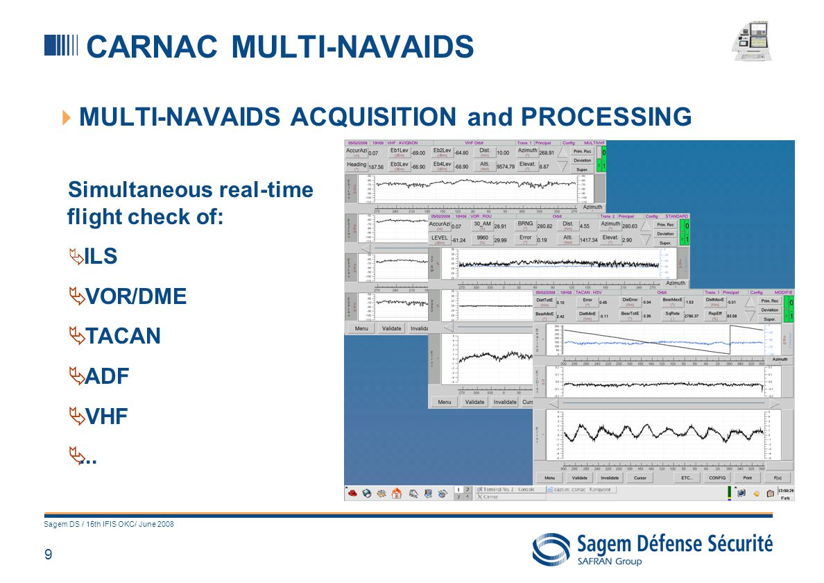 9 Sagem DS / 15th IFIS OKC/ June 2008 CARNAC MULTI-NAVAIDS MULTI-NAVAIDS ACQUISITION and PROCESSING Simultaneous real-time flight check of: ILS VOR/DM