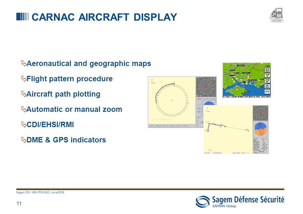 11 Sagem DS / 15th IFIS OKC/ June 2008 CARNAC AIRCRAFT DISPLAY Aeronautical and geographic maps Flight pattern procedure Aircraft path plotting Automa