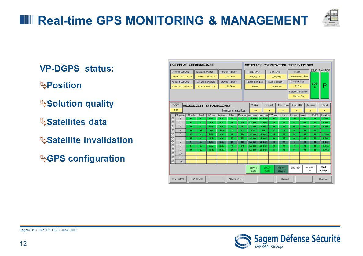 12 Sagem DS / 15th IFIS OKC/ June 2008 Real-time GPS MONITORING & MANAGEMENT VP-DGPS status: Position Solution quality Satellites data Satellite inval