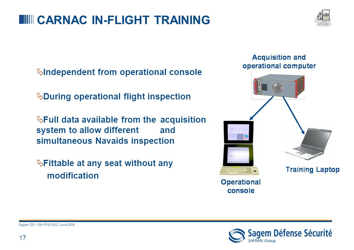 17 Sagem DS / 15th IFIS OKC/ June 2008 CARNAC IN-FLIGHT TRAINING Independent from operational console During operational flight inspection Full data a