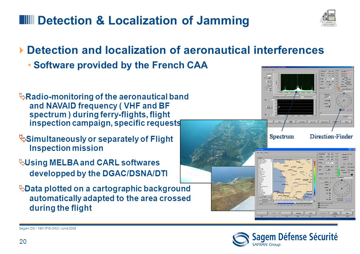 20 Sagem DS / 15th IFIS OKC/ June 2008 Detection and localization of aeronautical interferences Software provided by the French CAA Detection & Locali