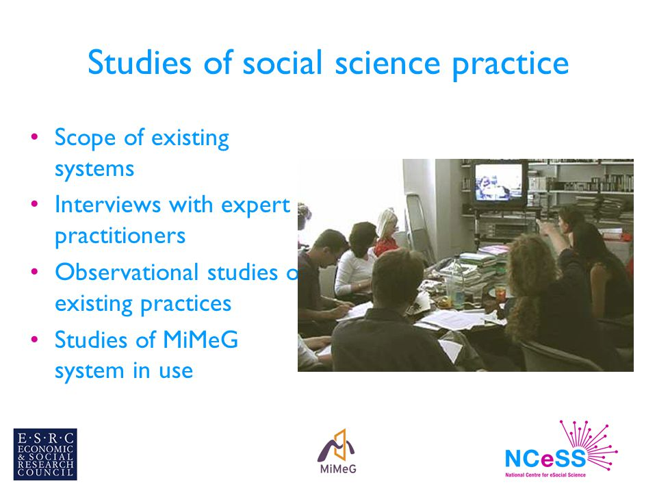 Studies of social science practice Scope of existing systems Interviews with expert practitioners Observational studies of existing practices Studies