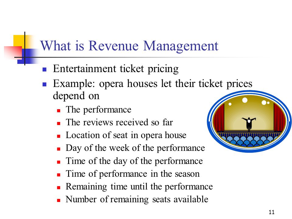 11 What is Revenue Management Entertainment ticket pricing Example: opera houses let their ticket prices depend on The performance The reviews receive
