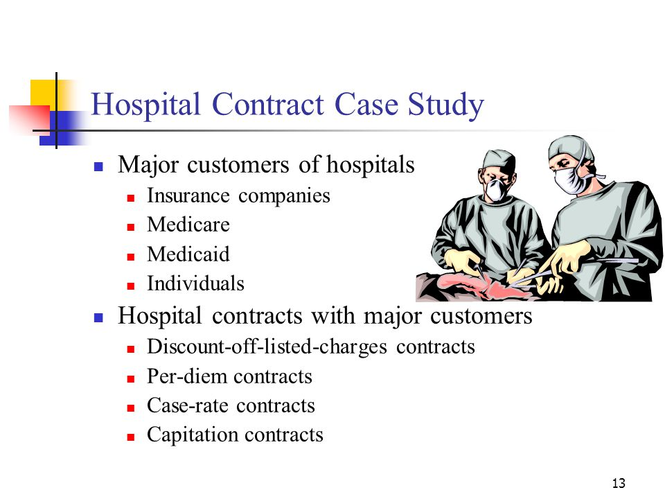 13 Hospital Contract Case Study Major customers of hospitals Insurance companies Medicare Medicaid Individuals Hospital contracts with major customers