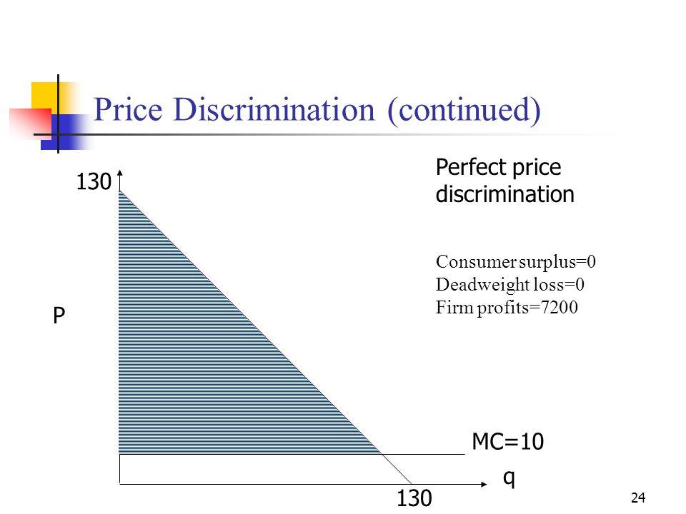 24 Price Discrimination (continued) Perfect price discrimination P q MC=10 130 Consumer surplus=0 Deadweight loss=0 Firm profits=7200