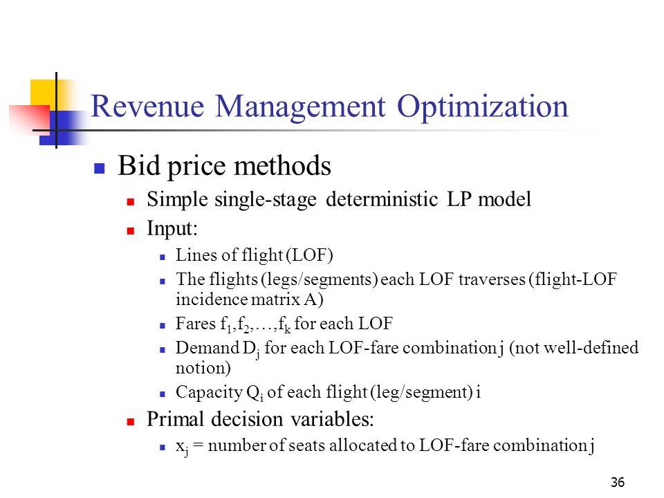 36 Revenue Management Optimization Bid price methods Simple single-stage deterministic LP model Input: Lines of flight (LOF) The flights (legs/segment