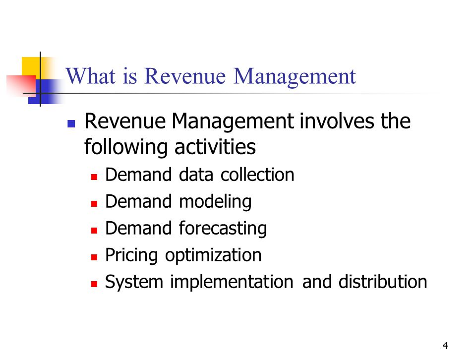 4 What is Revenue Management Revenue Management involves the following activities Demand data collection Demand modeling Demand forecasting Pricing op