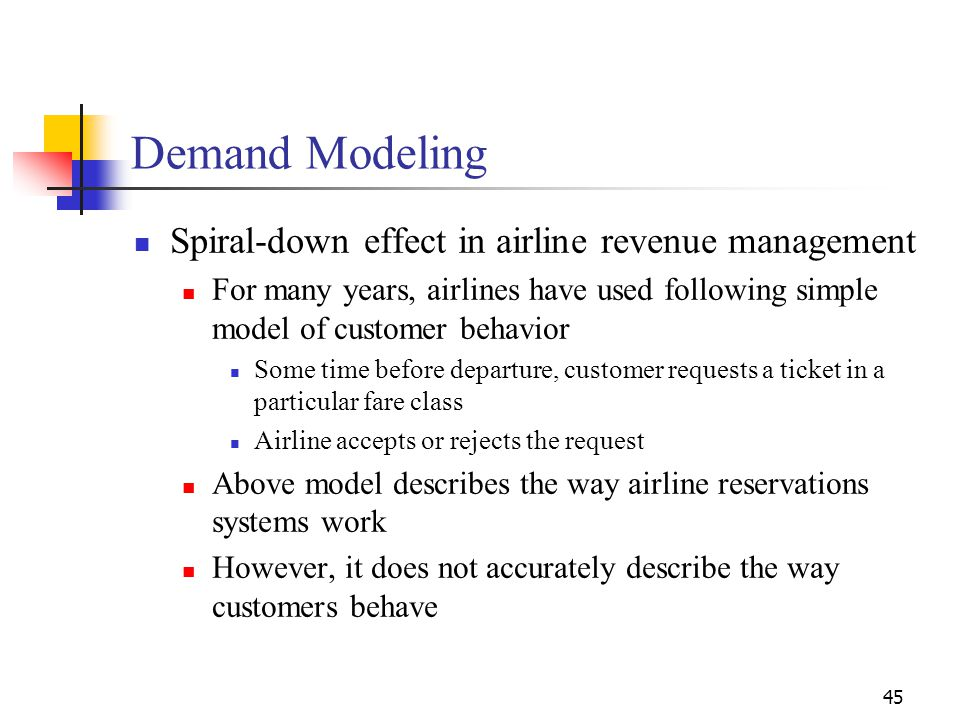 45 Spiral-down effect in airline revenue management For many years, airlines have used following simple model of customer behavior Some time before de