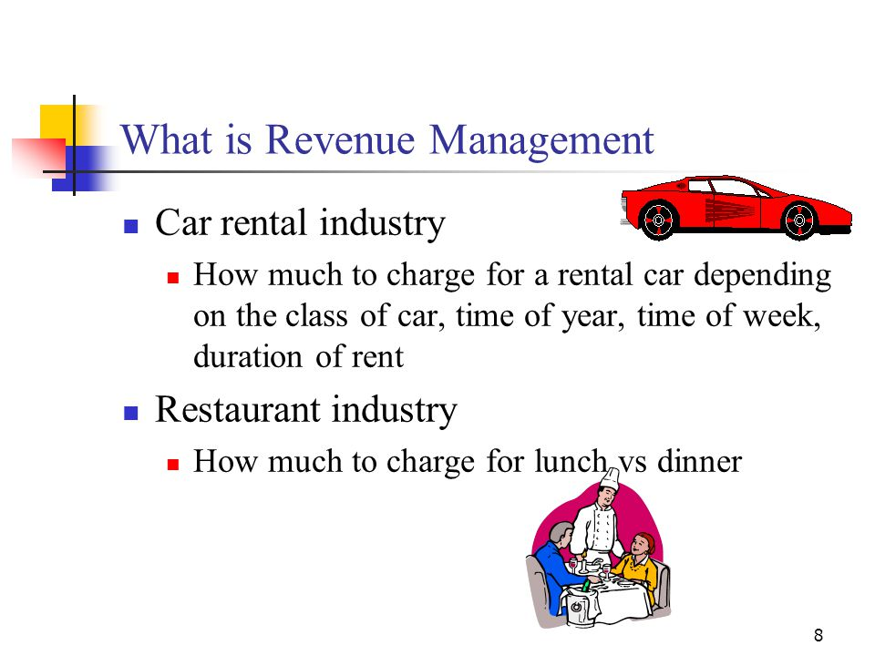 8 What is Revenue Management Car rental industry How much to charge for a rental car depending on the class of car, time of year, time of week, durati