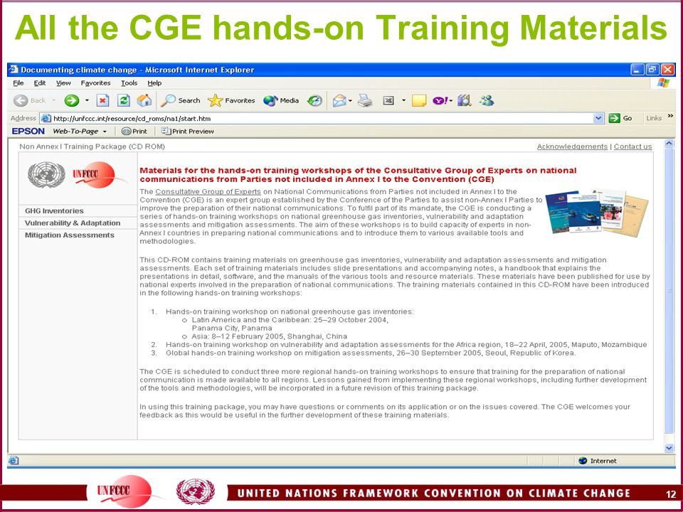 12 All the CGE hands-on Training Materials