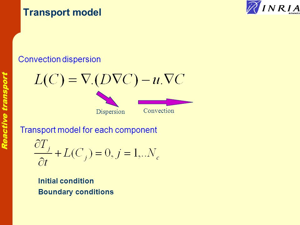 Reactive transport Transport model Convection dispersion Convection Dispersion Transport model for each component Initial condition Boundary conditions