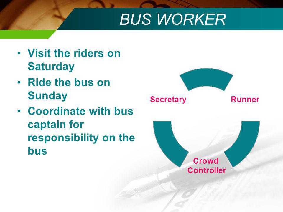 BUS WORKER Visit the riders on Saturday Ride the bus on Sunday Coordinate with bus captain for responsibility on the bus