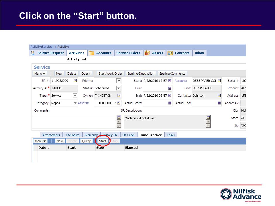 Edit the Start field to the desired start time.