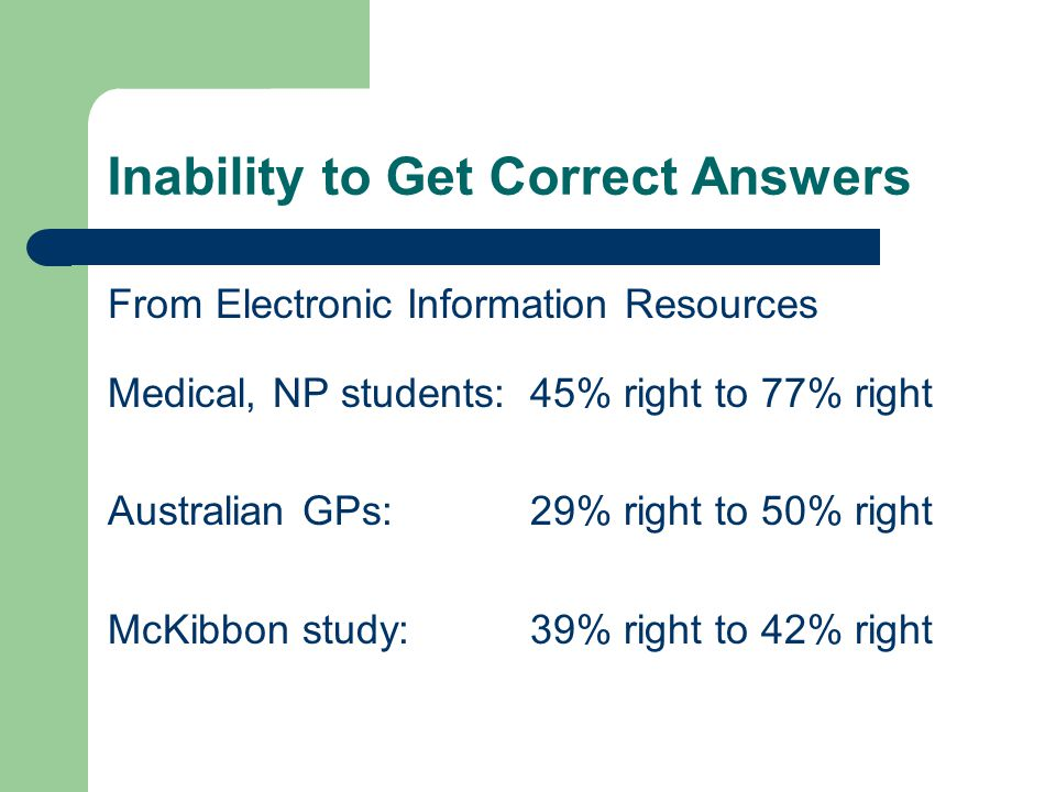 Inability to Get Correct Answers From Electronic Information Resources Medical, NP students:45% right to 77% right Australian GPs:29% right to 50% right McKibbon study:39% right to 42% right