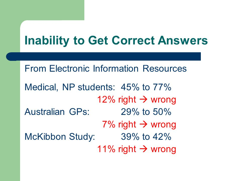 Inability to Get Correct Answers From Electronic Information Resources Medical, NP students:45% to 77% 12% right wrong Australian GPs:29% to 50% 7% right wrong McKibbon Study:39% to 42% 11% right wrong