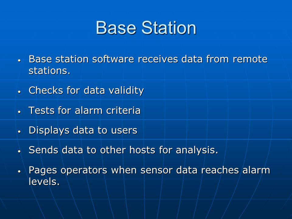 Base Station Base station software receives data from remote stations. Base station software receives data from remote stations. Checks for data valid