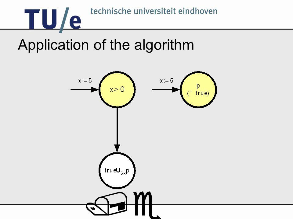 /e Application of the algorithm