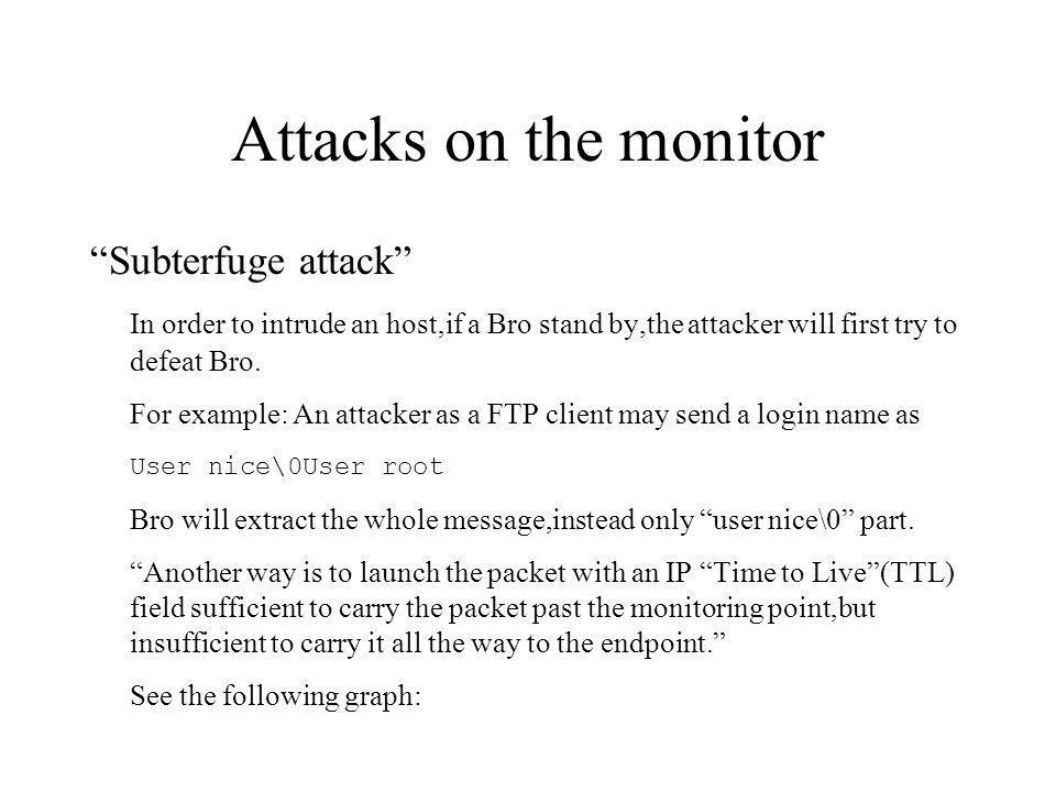 A TTL-based evasion attack Attacker ttl=12 nice root user ttl=20 user root victim Monitor user = .