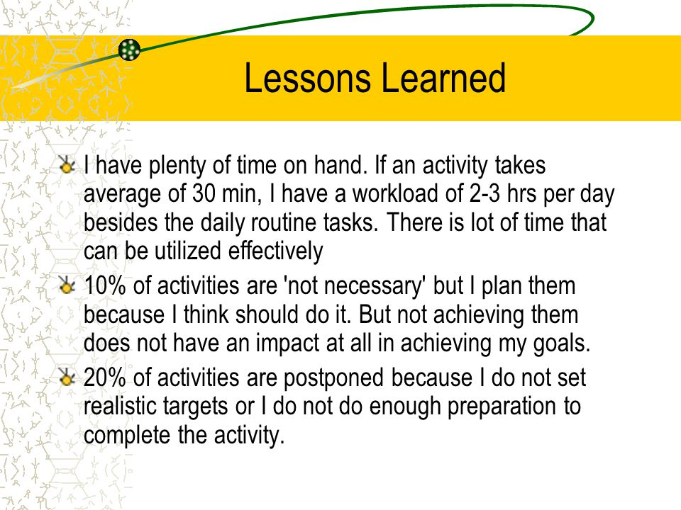 Lessons Learned I have plenty of time on hand. If an activity takes average of 30 min, I have a workload of 2-3 hrs per day besides the daily routine