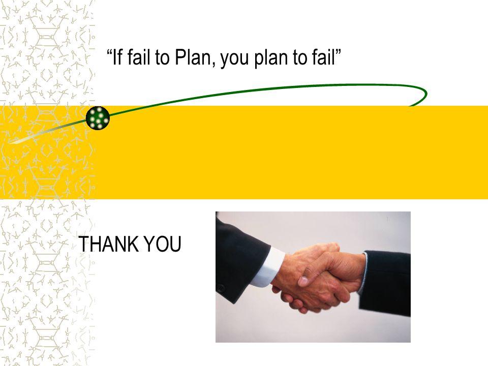 THANK YOU If fail to Plan, you plan to fail
