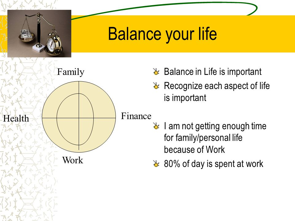 Balance your life Balance in Life is important Recognize each aspect of life is important I am not getting enough time for family/personal life becaus