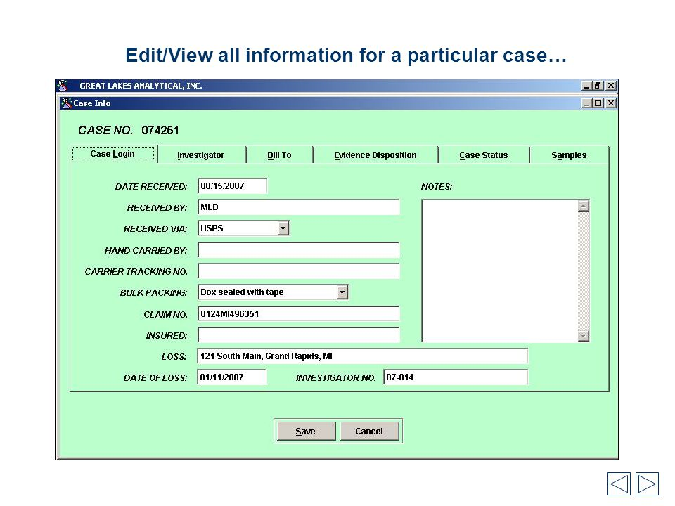 Edit/View all information for a particular case…