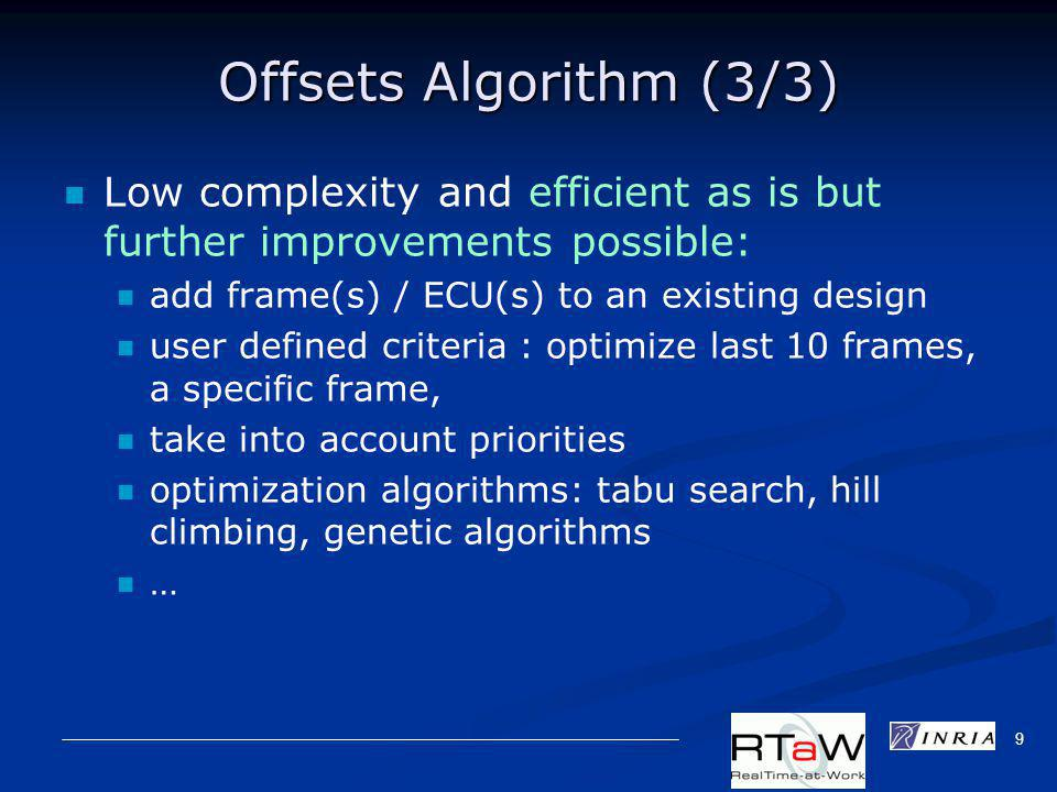 9 Offsets Algorithm (3/3) Low complexity and efficient as is but further improvements possible: add frame(s) / ECU(s) to an existing design user defined criteria : optimize last 10 frames, a specific frame, take into account priorities optimization algorithms: tabu search, hill climbing, genetic algorithms …