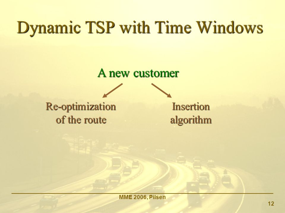 Dynamic TSP with Time Windows _____________________________________________________________________________________ MME 2006, Pilsen 12 A new customer Re-optimization of the route Insertion algorithm