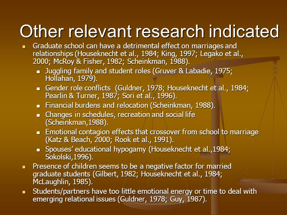 Other relevant research indicated Graduate school can have a detrimental effect on marriages and relationships (Houseknecht et al., 1984; King, 1997;
