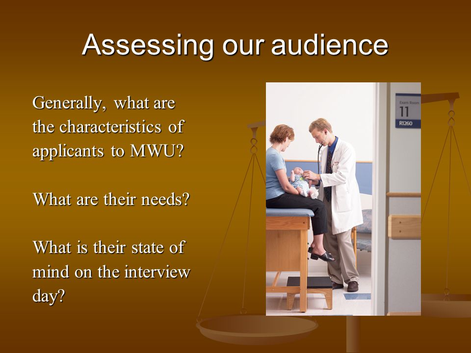 Assessing our audience Generally, what are the characteristics of applicants to MWU.
