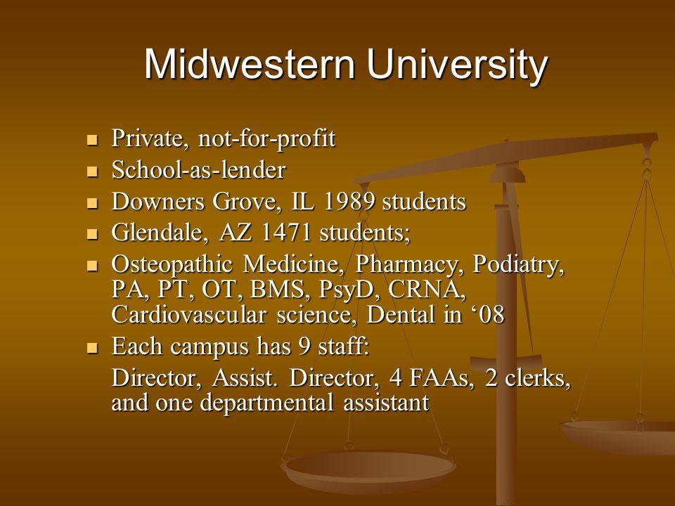 Private, not-for-profit Private, not-for-profit School-as-lender School-as-lender Downers Grove, IL 1989 students Downers Grove, IL 1989 students Glen