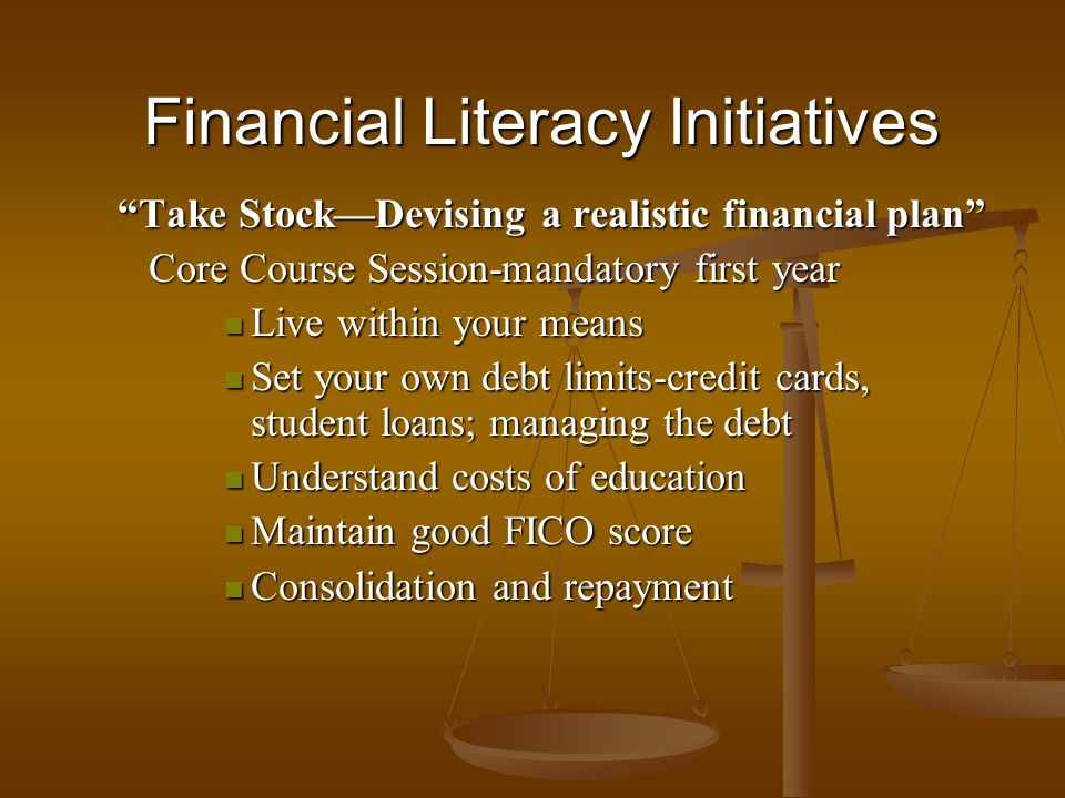 Financial Literacy Initiatives Take StockDevising a realistic financial plan Core Course Session-mandatory first year Core Course Session-mandatory fi