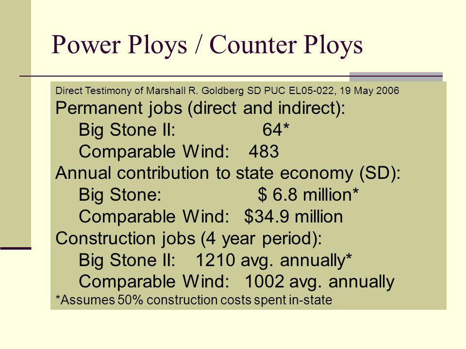 Power Ploys / Counter Ploys 1.Need 2. Economic & Environmental Benefits 3.