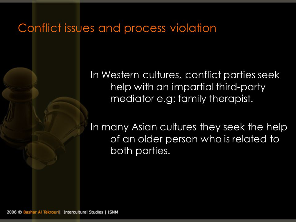 Conflict issues and process violation In Western cultures, conflict parties seek help with an impartial third-party mediator e.g: family therapist. In