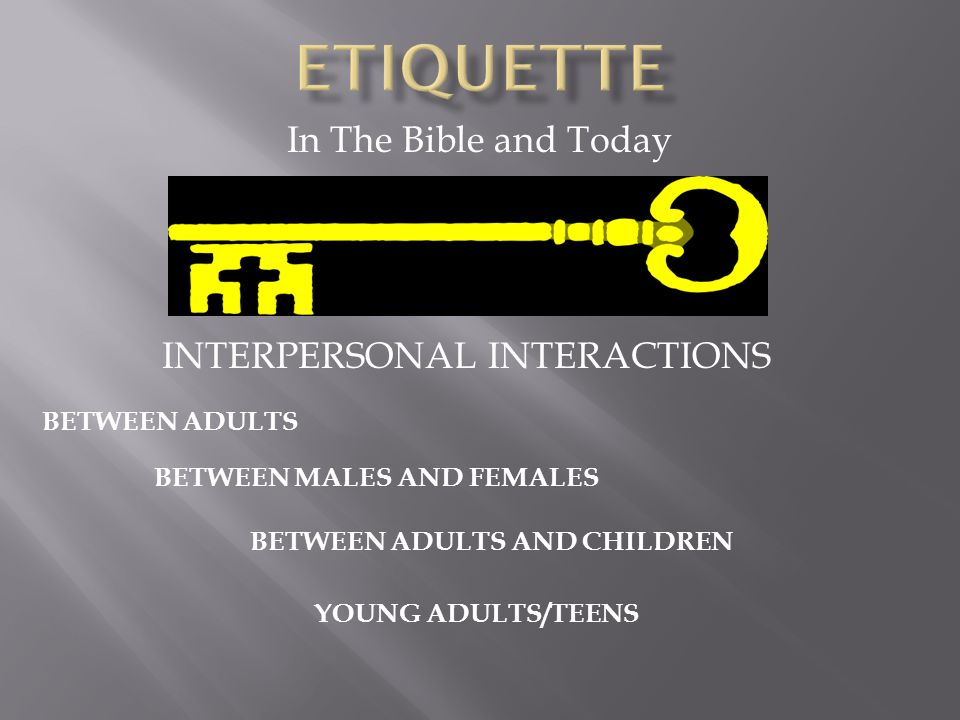 In The Bible and Today INTERPERSONAL INTERACTIONS BETWEEN ADULTS BETWEEN MALES AND FEMALES BETWEEN ADULTS AND CHILDREN YOUNG ADULTS/TEENS