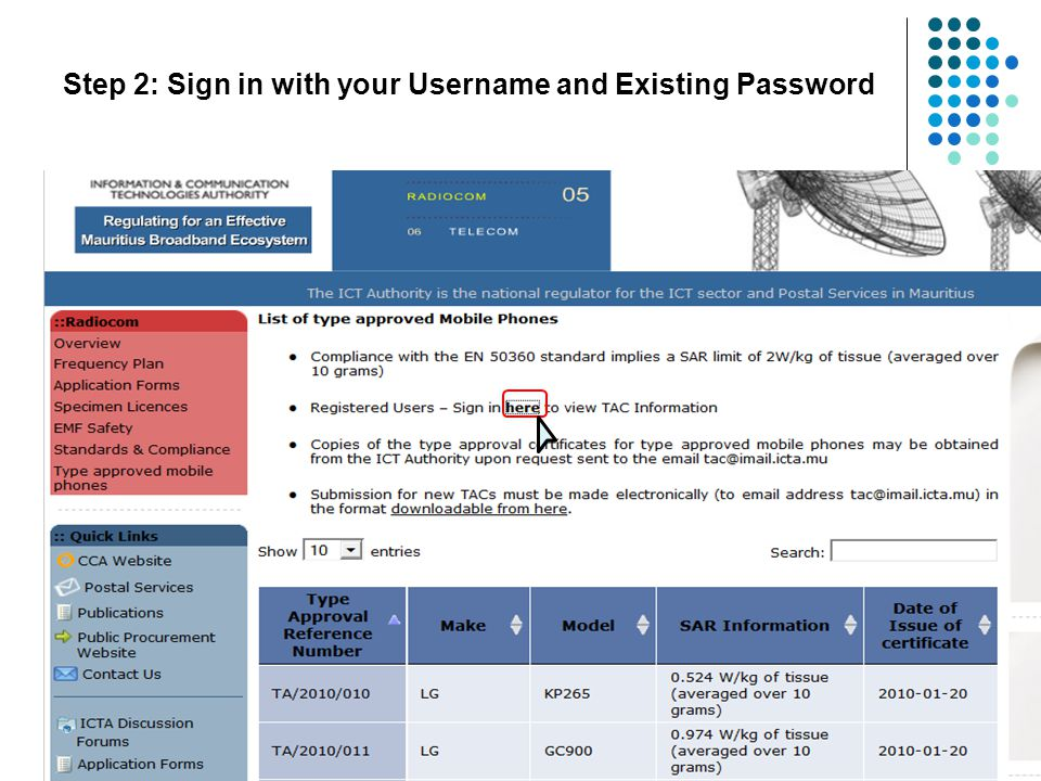 E/2012/XXX * * * * * * Username is in the form of Licence number Step 3: Enter your Username and Password and click on login