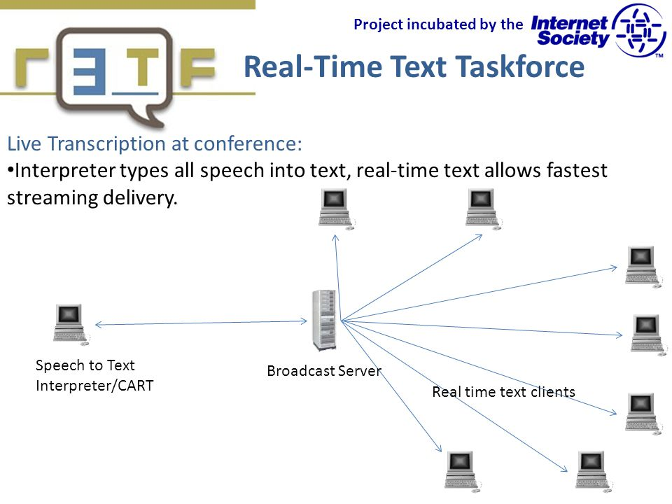 Real-Time Text Taskforce Project incubated by the Live Transcription at conference: Interpreter types all speech into text, real-time text allows fastest streaming delivery.