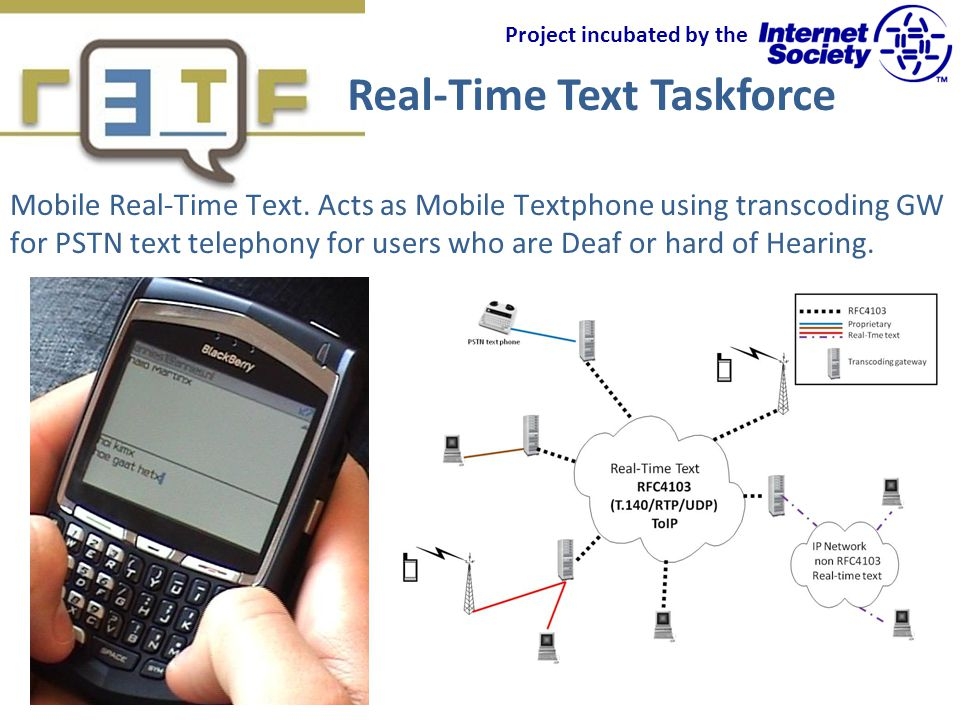 Real-Time Text Taskforce Project incubated by the Mobile Real-Time Text.
