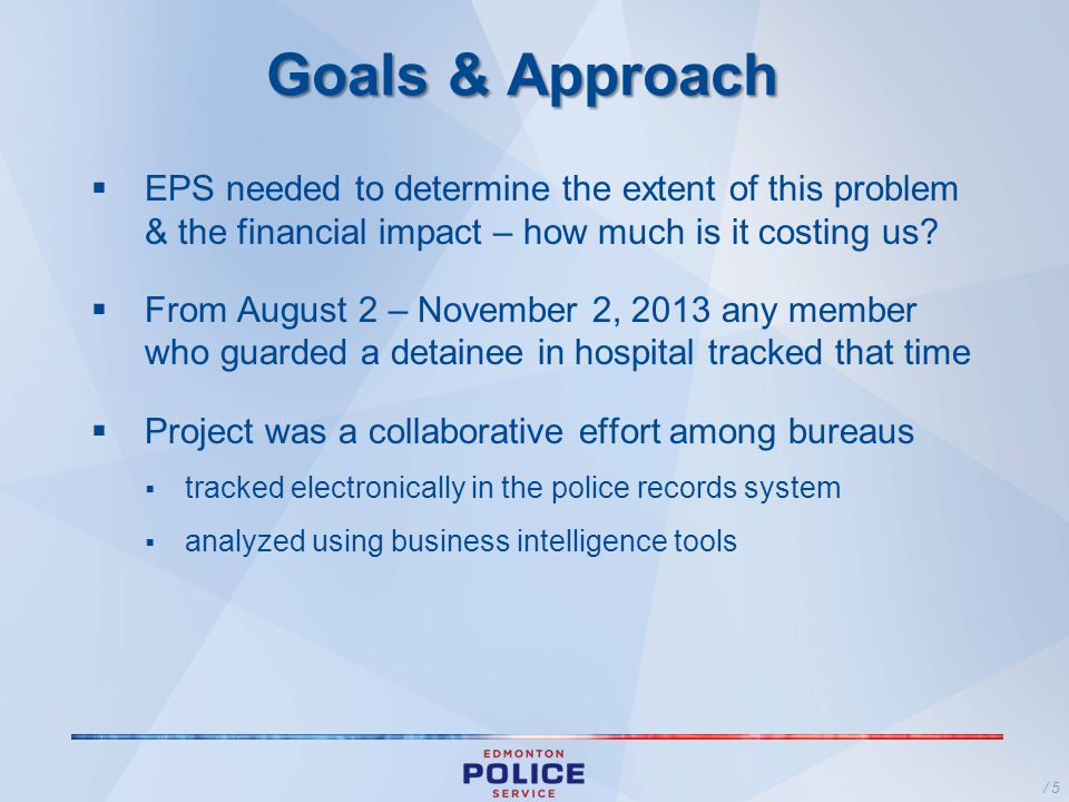 Goals & Approach EPS needed to determine the extent of this problem & the financial impact – how much is it costing us.