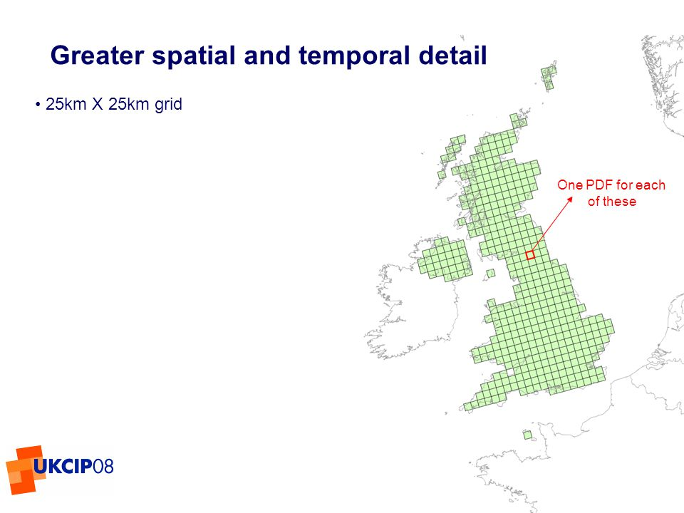 © UKCIP 2006 Greater spatial and temporal detail 25km X 25km grid One PDF for each of these