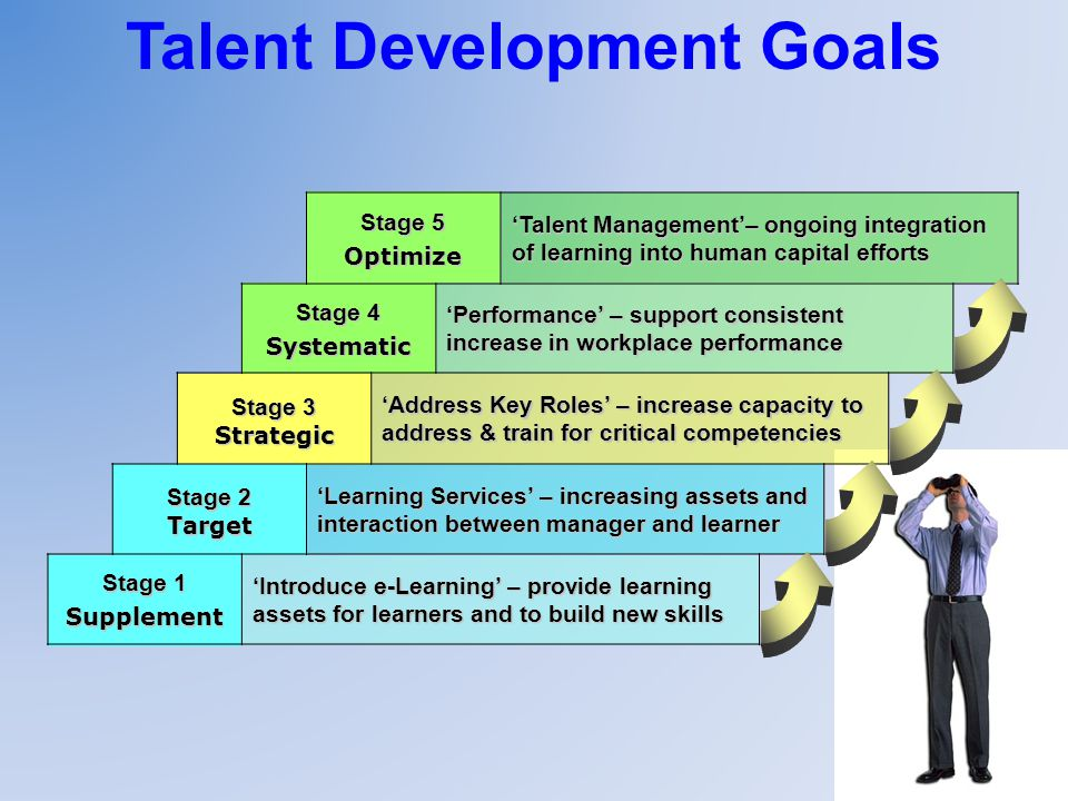 Talent Development Goals Stage 5 Optimize Talent Management– ongoing integration of learning into human capital efforts Stage 4 Systematic Performance