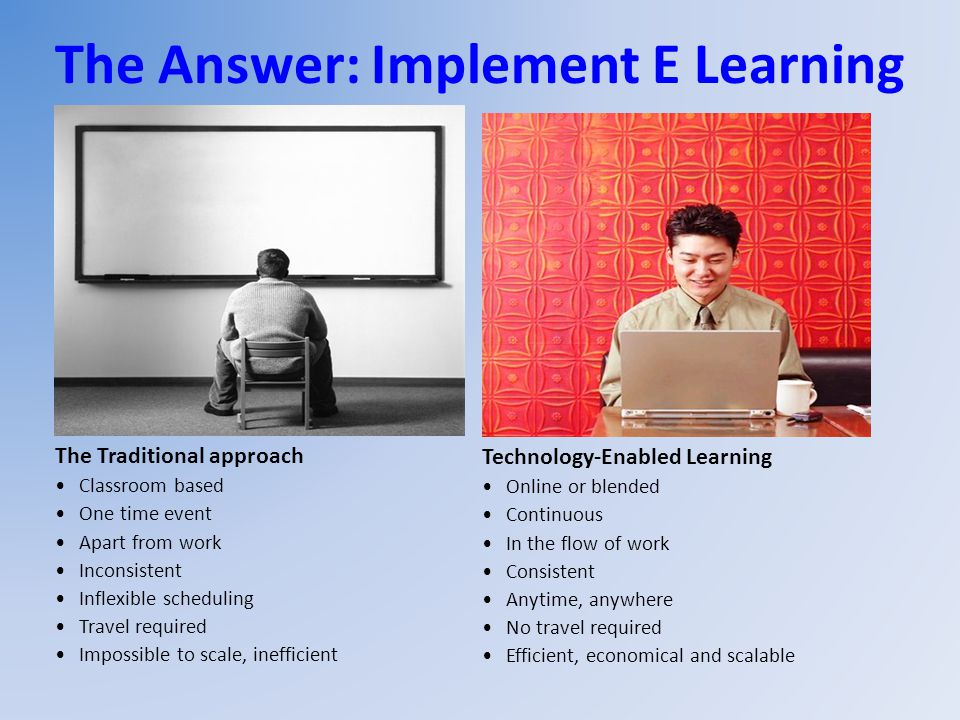 The Answer: Implement E Learning The Traditional approach Classroom based One time event Apart from work Inconsistent Inflexible scheduling Travel req